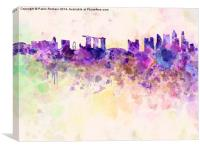 Singapore skyline in watercolor background, Canvas Print