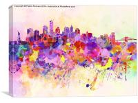 New York skyline in watercolor background, Canvas Print