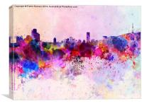 Seoul skyline in watercolor background, Canvas Print