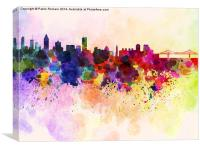 Montreal skyline in watercolor background, Canvas Print