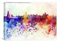 Chicago skyline in watercolor background, Canvas Print