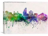 San Jose skyline in watercolor background, Canvas Print