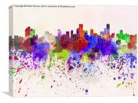 Bogota skyline in watercolor background, Canvas Print