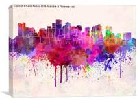 Boston skyline in watercolor background, Canvas Print
