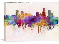Charlotte skyline in watercolor background, Canvas Print