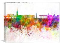 Bordeaux skyline in watercolor background, Canvas Print