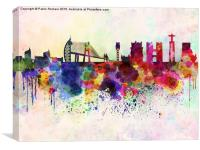 Lisbon skyline in watercolor background, Canvas Print