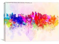 Doha skyline in watercolor background, Canvas Print
