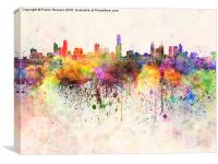 Melbourne skyline in watercolor background, Canvas Print