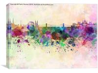Budapest skyline in watercolor background, Canvas Print