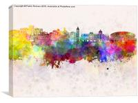 Nice skyline in watercolor background, Canvas Print