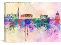 Venice skyline in watercolor background, Canvas Print