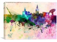 Seville skyline in watercolor background, Canvas Print