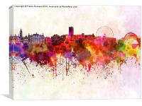 Sheffield skyline in watercolor background, Canvas Print