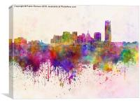 Oklahoma City skyline in watercolor background, Canvas Print