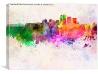 Louisville skyline in watercolor background, Canvas Print