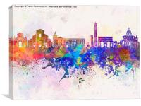 Bologna skyline in watercolor background, Canvas Print