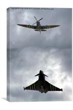 Spitfire with Typhoon, Canvas Print