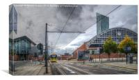Manchester Morning Tram., Canvas Print