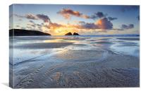 Sunset at Low Tide (Holywell Bay), Canvas Print