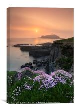 Misty sping sunset (Godrevy), Canvas Print