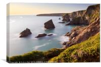 Spring flowers and sea stacks (Bedruthan Steps), Canvas Print