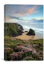 Sunset over the Bedruthan Steps, Canvas Print