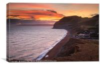 The Golden Cap and Seatown at sunset, Canvas Print