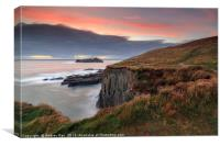 Clifftop at sunset (Godrevy), Canvas Print