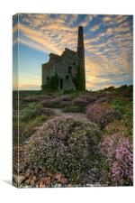 Cloud pattern over Tywarnhayle Engine House, Canvas Print