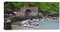 Moored up to the Harbour Wall, Tenby, Canvas Print
