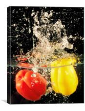 'CHILLY' PEPPERS IN WATER, Canvas Print
