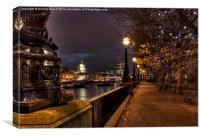 Embankment Lights, Canvas Print