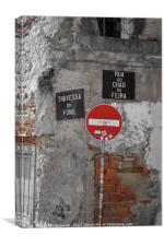 Street Signs in Lisbon, Canvas Print
