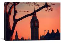 sunset over Big Ben and houses of parliment London, Canvas Print