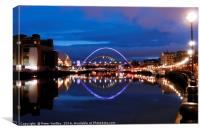 Newcastle Quay & Tyne Bridges, Canvas Print