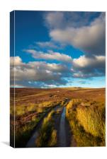 Snake path on the moors above Hayfield, Derbyshire, Canvas Print