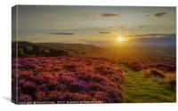 The sun setting over Ilkley Moor, Canvas Print