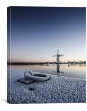 Frosty Thurne Windmill, Canvas Print