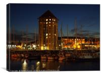 Swansea Marina from the River Tawe, Canvas Print