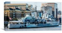 HMS Belfast moored on the River Thames, Canvas Print