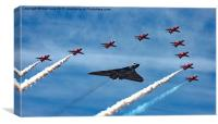 Vulcan XH558 and Red Arrows farewell Flight, Canvas Print