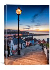 A Mid Summer Sunset Over Whitby Steps, Canvas Print