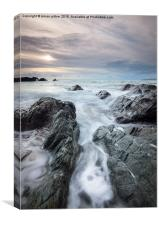 Snow clouds over Whitsand bay, Canvas Print
