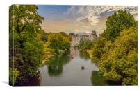 Warwick castle and town, Canvas Print