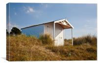 A Beach hut in the Marram Grass at Old Hunstanton,, Canvas Print
