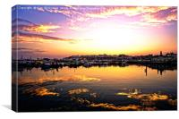Sunset on the water in the harbour, Canvas Print
