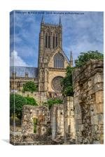 Lincoln Cathedral And Bishops Palace Ruins, Canvas Print