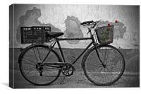 Red roses in basket of old rusty bicycle, Canvas Print
