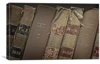 Old probate books in a library, Canvas Print
